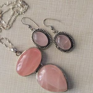 Huge pink quartz pendant and earrings